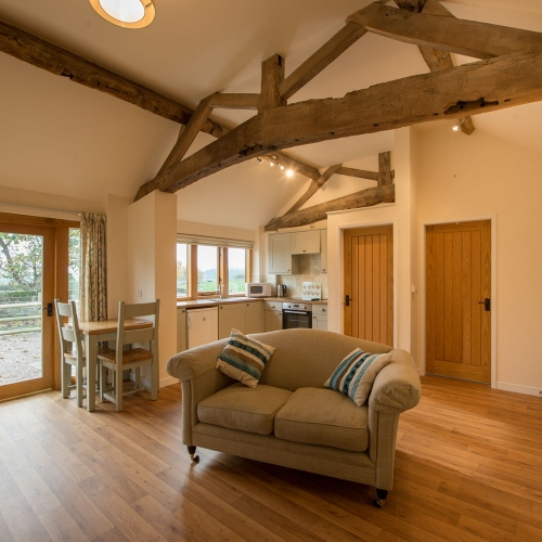 Open-Plan Kitchen and Living Room at The Cart Shed and Paddock Cottage Holiday Accommodation in Shropshire
