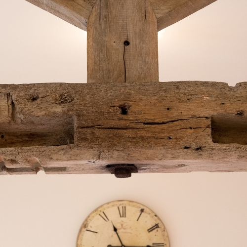 Wooden Beams in The Cart Shed and Paddock Cottage Self Catering Accommodation at Moreton Hall Farm in Newport Shropshire