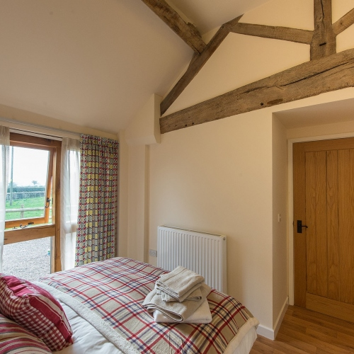 Double Bedroom at The Cart Shed and Paddock Cottage Self Catering Accommodation at Moreton Hall Farm in Newport Shropshire
