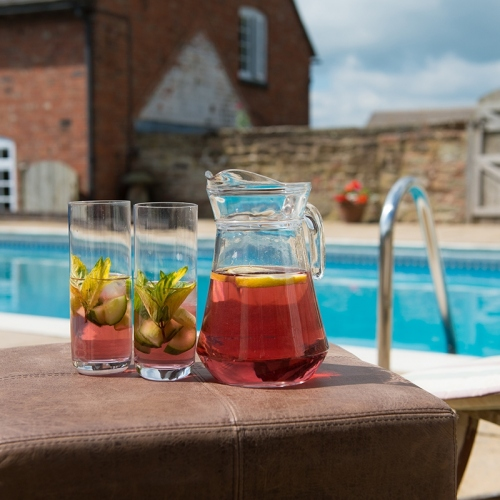 Cocktails and Swimming Pool at Self Catering Accommodation at Moreton Hall, Shropshire