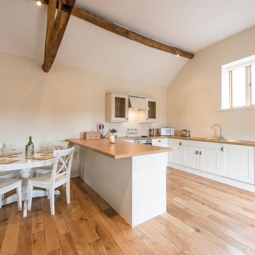 Dining and Kitchen at The Shippen Self Catering at Moreton Hall Farm Newport Shropshire